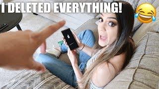HYPHEN HYPHEN PRANK - DELETING EVERYTHING OFF HER PHONE!