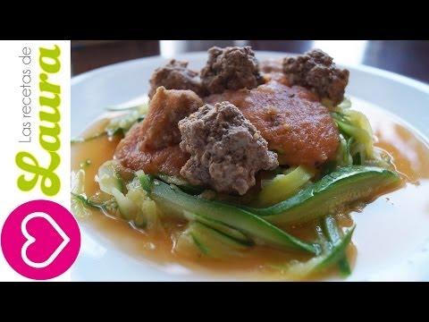 Como hacer Espagueti de zucchini o calabacita con albóndigas y salsa - Comida Saludable