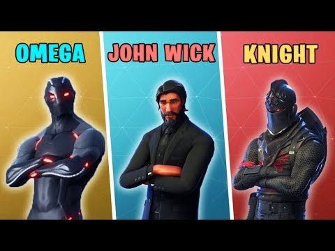 OMEGA vs JOHN WICK vs BLACK KNIGHT in Fortnite Battle Royale
