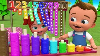 Little Babies Fun Play Learning Numbers for Children with Wooden Rings Numbers Toy Set 3D Kids Edu