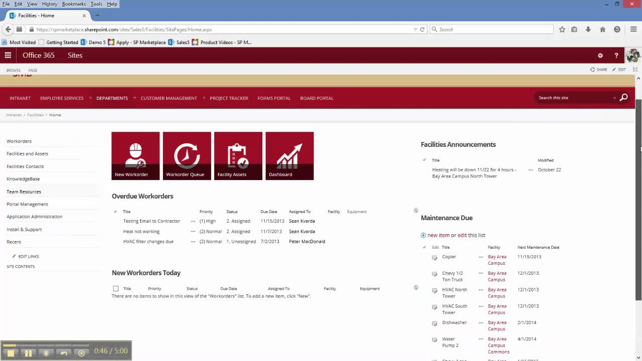 Office 365 SharePoint Facilities Management Template - YouTube