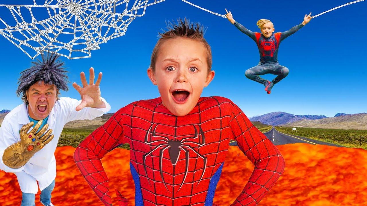 Spiderman vs Sneaky Villain!  The Floor Is Lava!