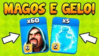 Clash Of Clans | NUNCA TINHA ATACADO COM ESSA ESTRATÉGIA! 60 MAGOS E FEITIÇOS DE GELO! | Desafio #15