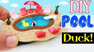 HOW TO MAKE MINIATURE Swimming Pool SUMMER diy craft polymer clay epoxy resin tutorial