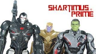Avengers Endgame War Machine, Hulk, and Thanos Titan Hero FX Hasbro Movie Toy Review
