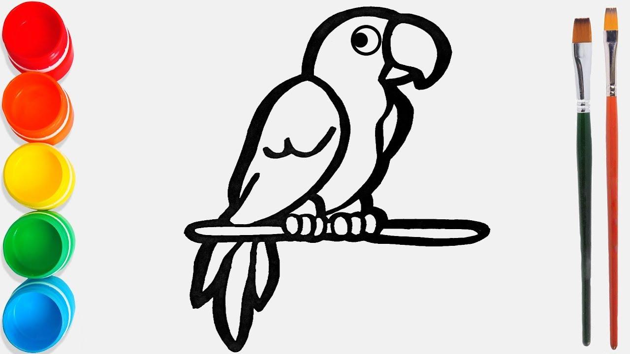 Cara Menggambar Dan Mewarnai Burung Beo Mainan 42 Video Pendidikan Untuk Anak Anak