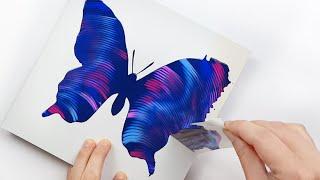 (301) Beautiful butterfly   Chain pull technique   Masking tape   Fluid acrylic   Designer Gemma77