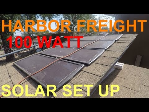 HARBOR FREIGHT 100 WATT SOLAR PANEL SYSTEM SET UP (63585)