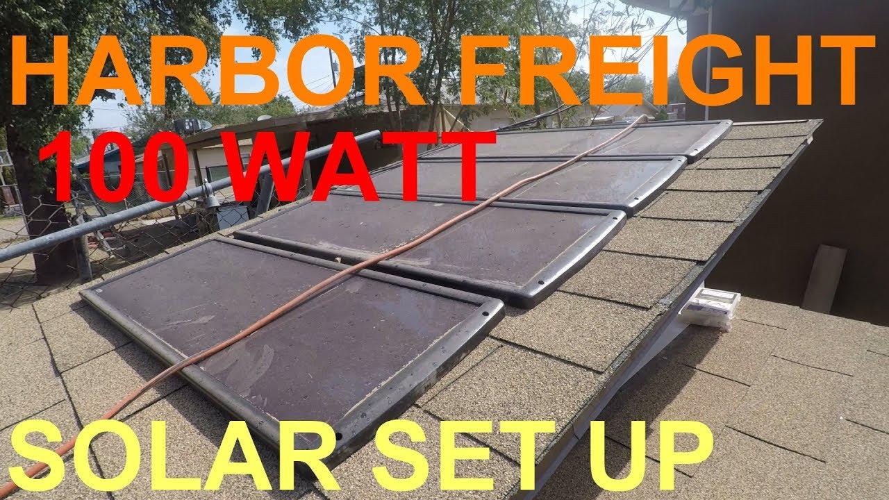 Harbor Freight 100 Watt Solar Panel System Set Up 63585 Youtube