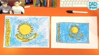 How to draw Flag of Kazakhstan
