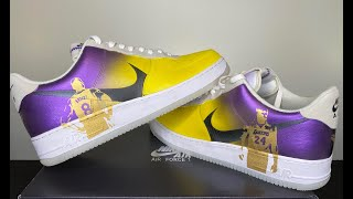 """This is a full review of custom pair kobe bryant air force 1's. tribute to one the greatest all time from beginning end... """"..."""