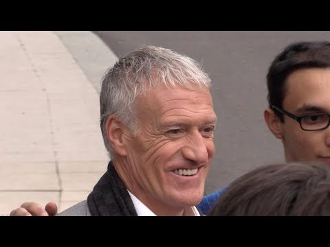 EXCLUSIVE : all smile Didier Deschamps with new teeth arriving at radio station in Paris
