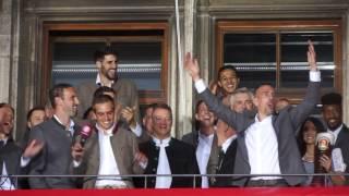 FC Bayern München Meisterfeier 2017 - Ancelotti , Alonso, Ribéry & Philipp Lahm am 20.05.2017