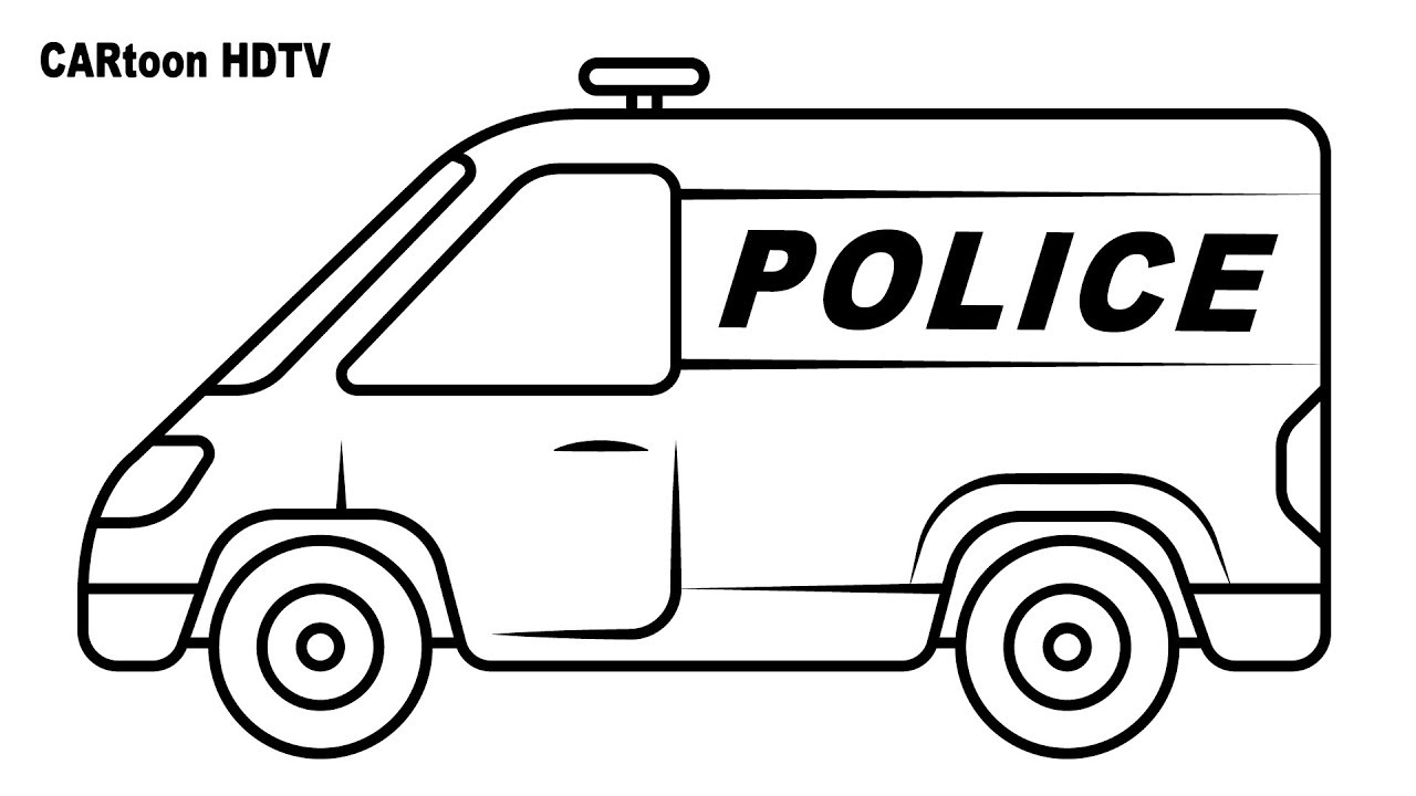 Police van coloring pages, video colors vehicles for kids