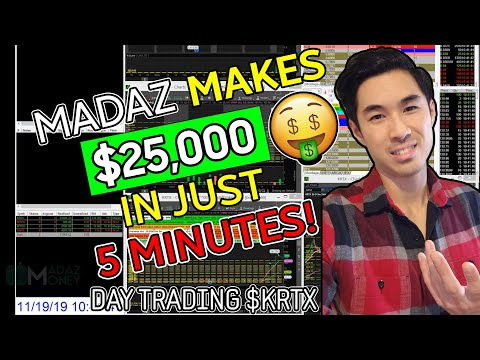 LIVE DAY #TRADING - DAY #TRADER MADAZ MAKES $25,000 IN 5 MINUTES ON $KRTX WASHOUT LONG! | +$46K DAY!