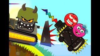 Злой квадрат на колючем танке - мультик игра. Красный шарик в опастности. Мультик детям