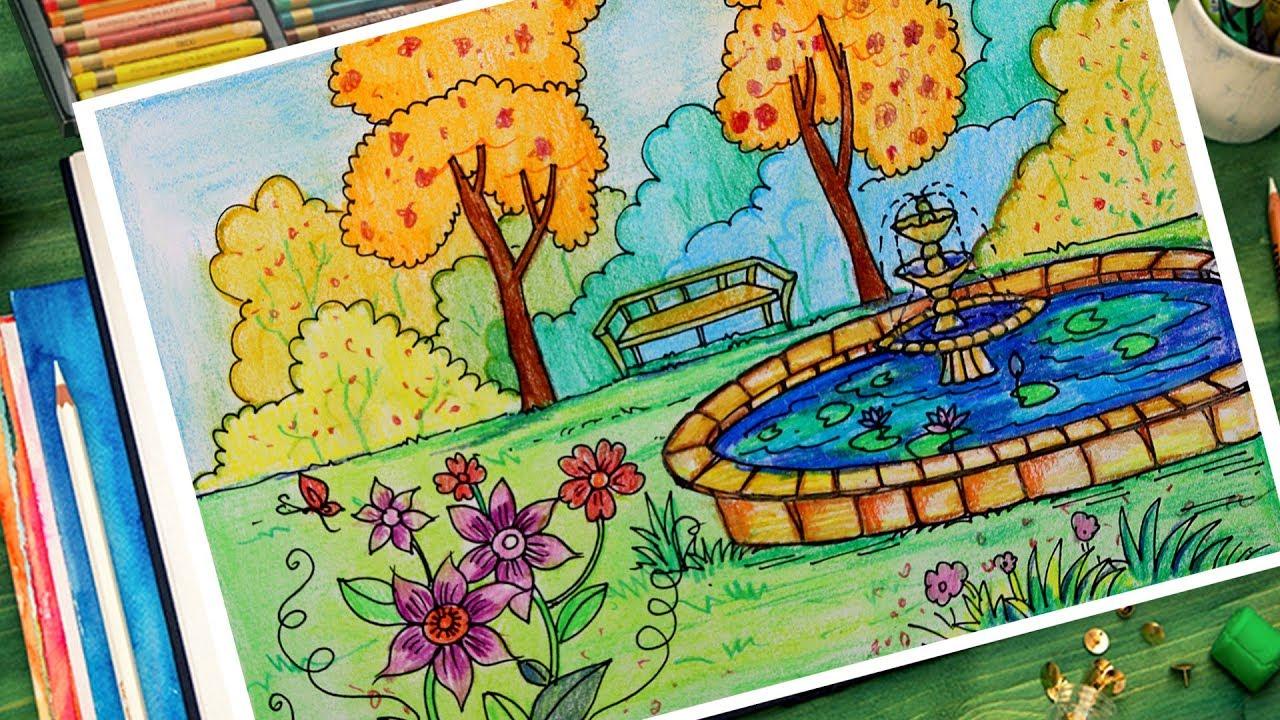 How To Draw A Beautiful Garden Scenery Youtube