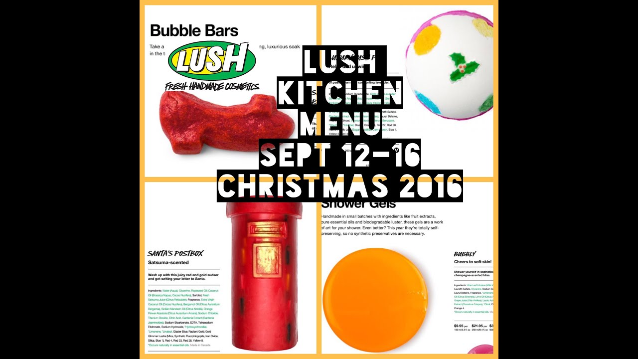 Lush Kitchen Christmas Menu Sept 12-16 - YouTube