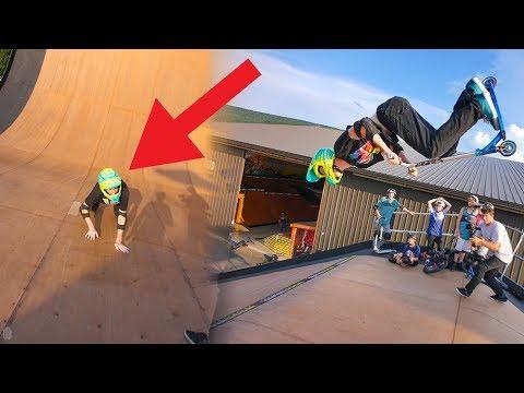 BMX RIDER TRIES MEGA RAMP BACKFLIP ON SCOOTER *FACEPLANT*