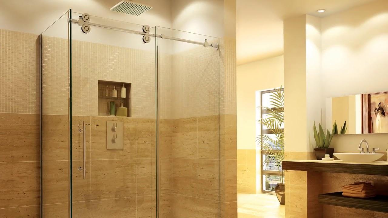 Custom Shower Doors Frameless Ideas - YouTube