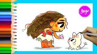Cómo dibujar a Moana Pricesas Disney estilo CUTE-How to draw Moana CUTE-Yaye