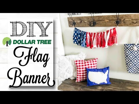 DIY Dollar Tree Flag Rag Banner | LESS THAN $5 PROJECT!
