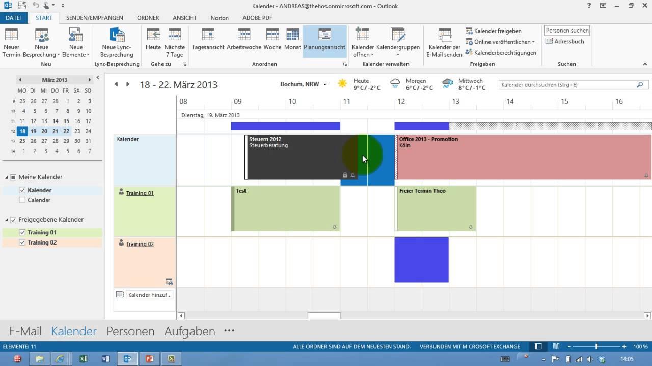 Outlook - Freie Termine in Planungsansicht anzeigen - Kalender - Teil ...
