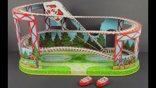 Vintage 1964 J  Chein & Co Tin Litho Windup Roller Coaster Toy Coney Island Bergen Pickers