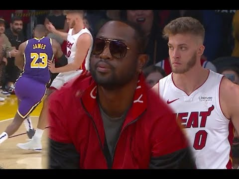 Dwyane Wade Watches His Boy Lebron James Frustrate Meyers Leonard On No Foul Call! Lakers Vs Heat|