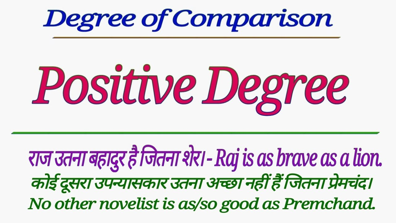 Degree of comparison uses positive in english grammar hindi also rh youtube