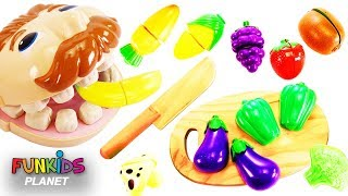 Feeding Mr. Play Doh Head Toy Velcro Cutting Vegetables & Fruit Surprise Toys Opening!