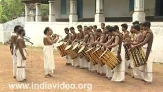 Panchari, Chenda, melam, drum, orchestra, percussion, Kerala, India