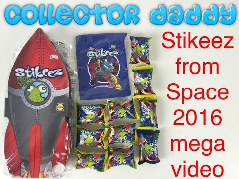 Stikeez from Space 2016 album, bag and 10 Stikeez Mega Video