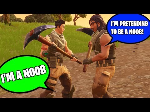 CAUGHT KID PRETENDING TO BE A NOOB BUT HES REALLY A NOOB AT FORTNITE! (I Helped Him Win!)