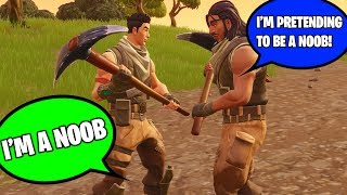"CAUGHT KID ""PRETENDING TO BE A NOOB"" BUT HE'S REALLY A NOOB AT FORTNITE! (I Helped Him Win!)"