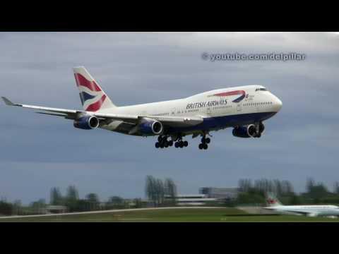 British Airways B747 Windy Evening Landing At YVR.