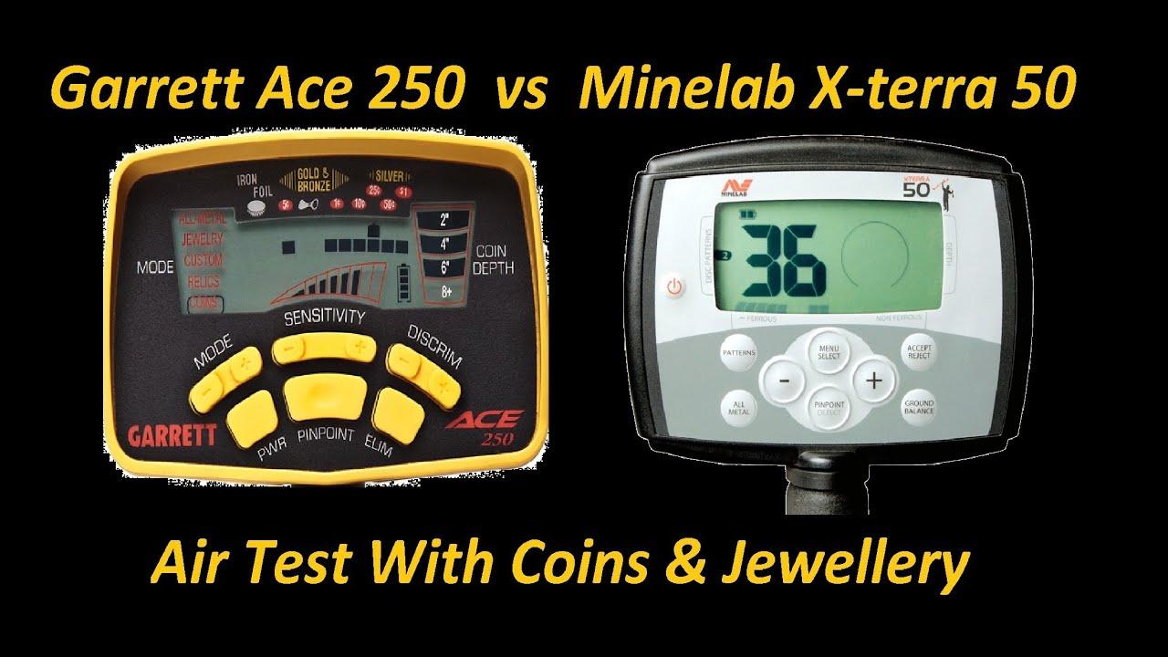 garrett ace 250 vs minelab x terra 50 air test metal detector comparison youtube. Black Bedroom Furniture Sets. Home Design Ideas