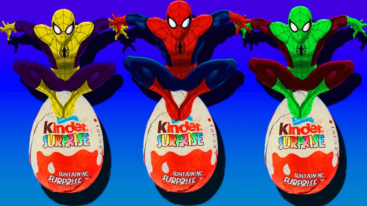 Spiderman Colours Kinder Surprise Eggs toys Cartoon - New Kids TV