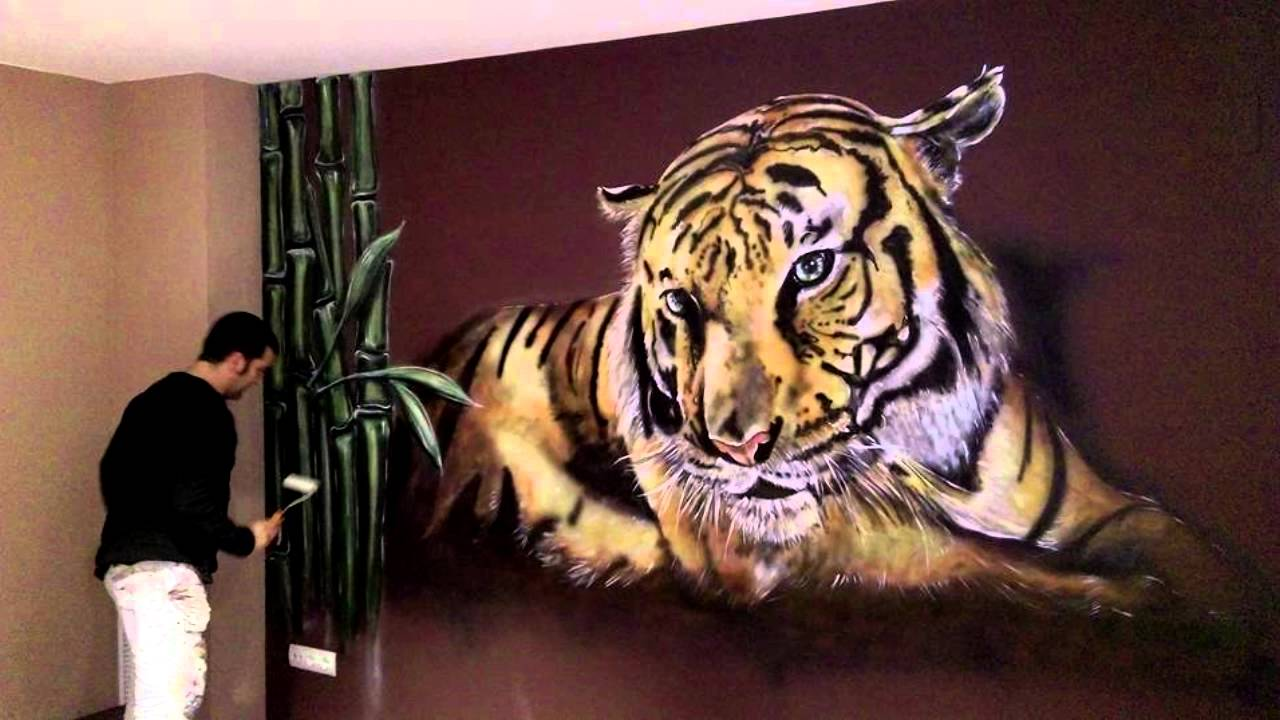 Mural pintado tigre youtube - Pintar paredes con dibujos ...
