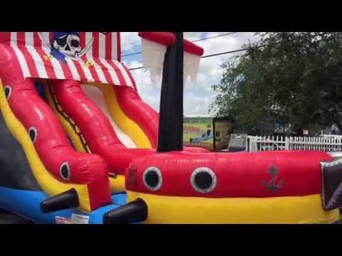 Party Rental Miami - Inflatable Pirate Ship Water Slide