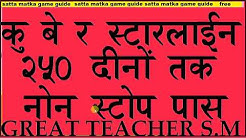Satta Matka Kuber Star line 250 Days nonstop pass trick guide By Great Teacher S.M