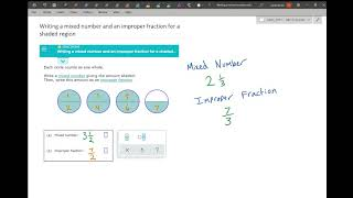 Writing a mixed nuṁber and an improper fraction for a shaded region