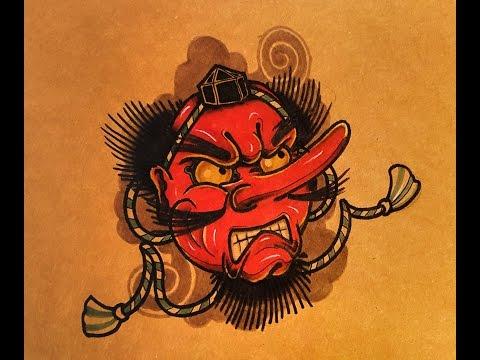 How to Draw a Tengu Mask