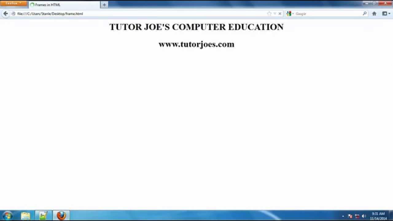 Frameset In Html Tamil Youtube