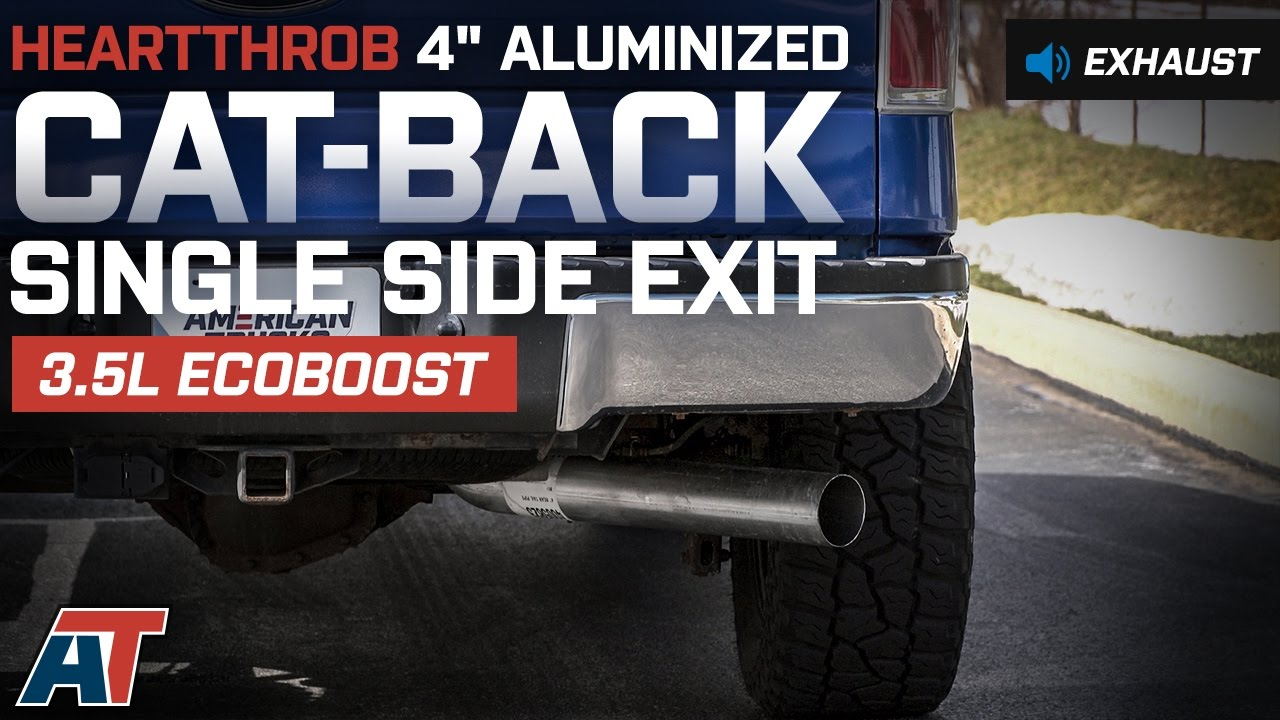 """2011-2014 F150 Heartthrob 4"""" Aluminized Cat-Back Exhaust System 3.5L EcoBoost Sound Clip"""