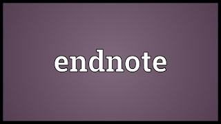 Endnote Meaning