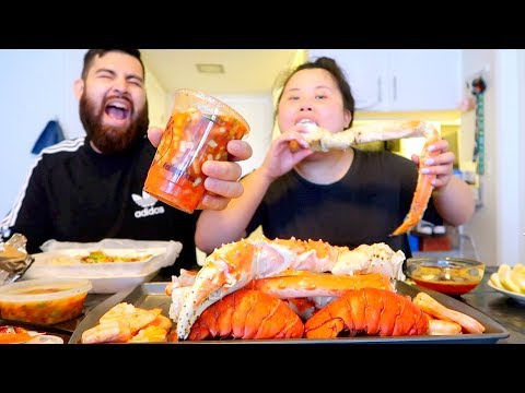 MUKBANG SEAFOOD BOIL! 먹방 (EATING SHOW!) KING CRAB + CEVICHE + SHRIMP (HOMEMADE)