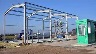 Aufbau Stahlhalle im Zeitraffer