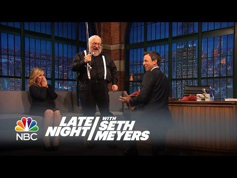George R.R. Martin Knights Seth - Late Night with Seth Meyers