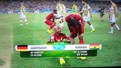 Thomas Muller got hit on his head.